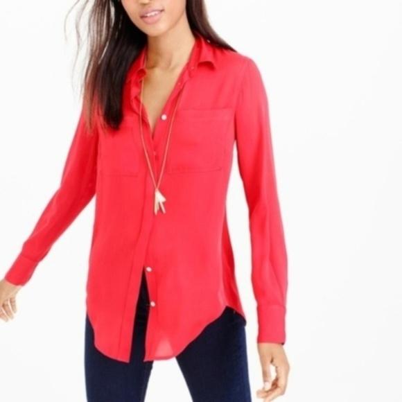 J CREW perfect cotton silk classic shirt S